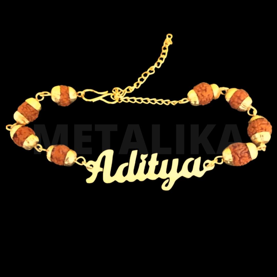 Customized Rudraksha Rakhi Bracelet with Name