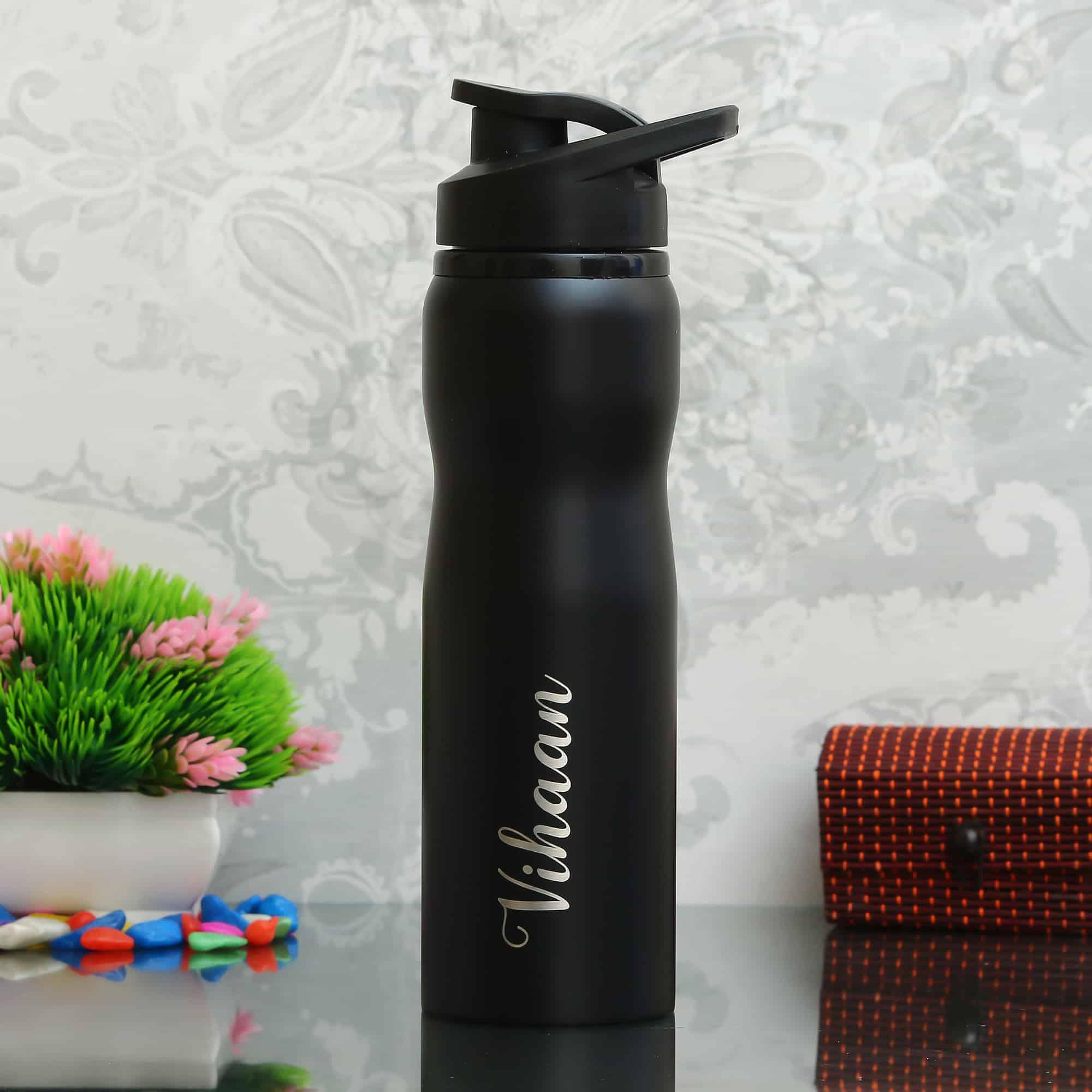 custom water bottles black 750 ml
