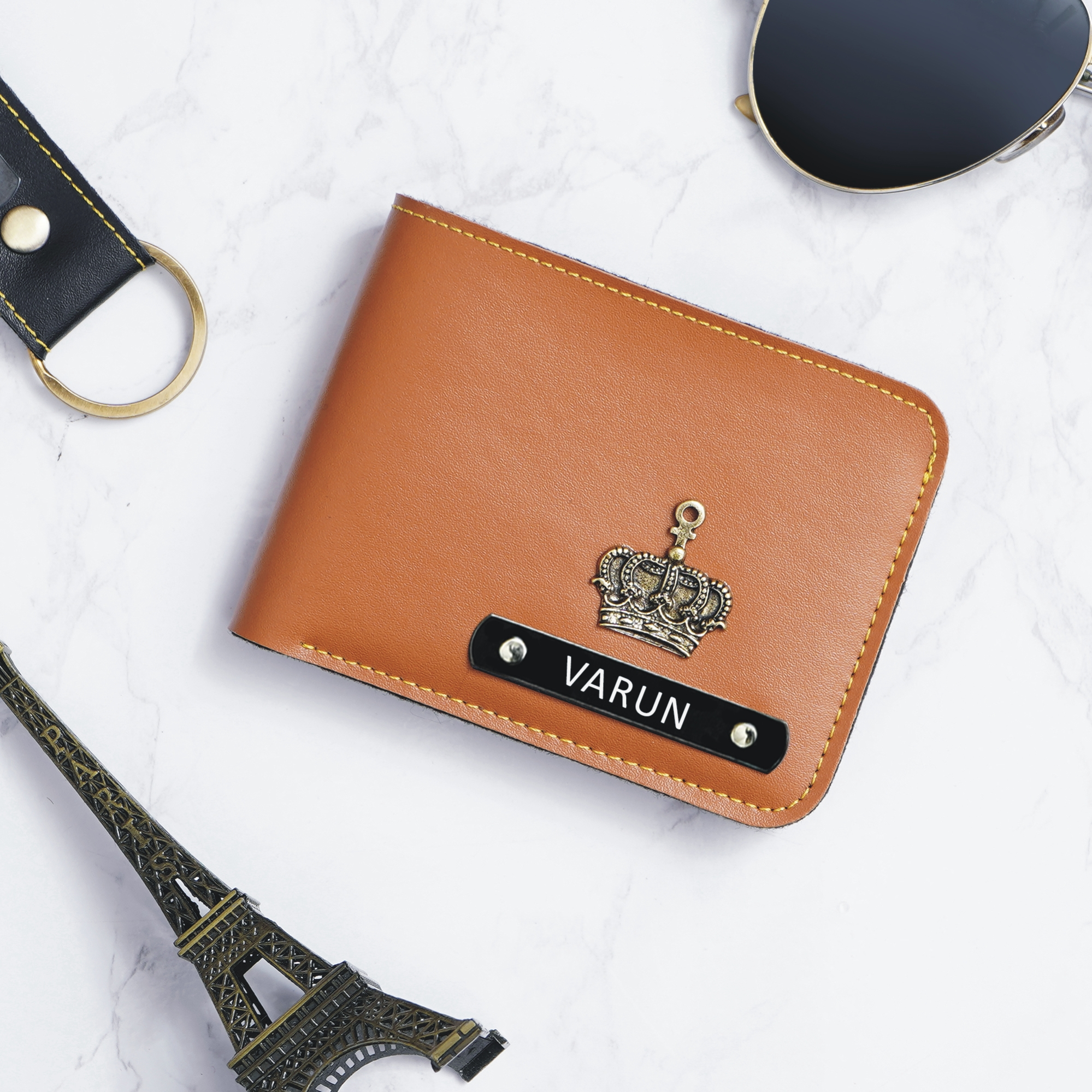 customised mens wallet tan leather